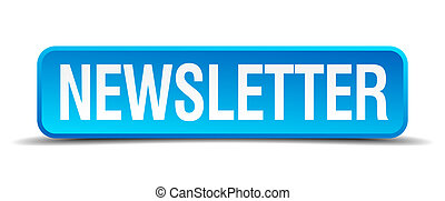 newsletter blue 3d realistic square isolated button
