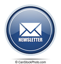 Newsletter blue round web icon. Circle isolated internet button for webdesign and smartphone applications.
