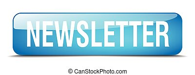 newsletter blue square 3d realistic isolated web button