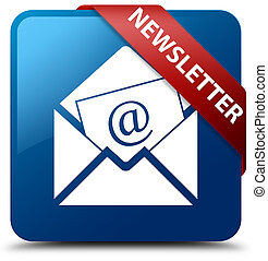 Newsletter blue square button red ribbon in corner