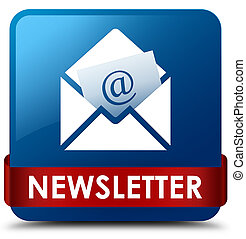 Newsletter blue square button red ribbon in middle