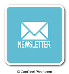 newsletter blue square internet flat design icon