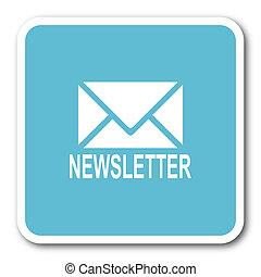 newsletter blue square internet flat design icon