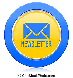 newsletter blue yellow icon