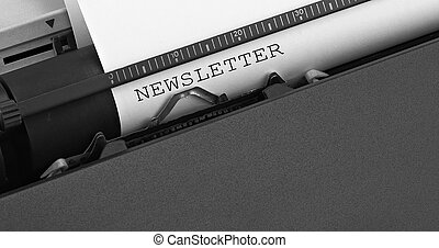 """newsletter"", boodschap, getypt, door, ouderwetse , typewriter."