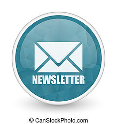Newsletter brillant crystal design round blue web icon.