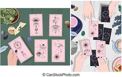 newsletter, caissier, mystique, conceptions, email, boisson, guide, main, offres, annonces, attente, séance, affiches, fortune, cartes tarot, dessiné, social, croquis, média, business, mystérieux, cartes, ensemble café