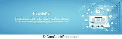newsletter, conceito, horizontais, teia, bandeira, com,...