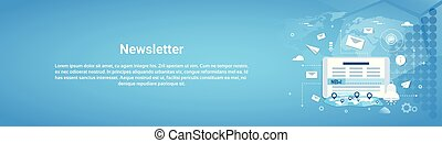 Newsletter Concept Horizontal Web Banner With Copy Space...