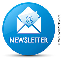 Newsletter cyan blue round button