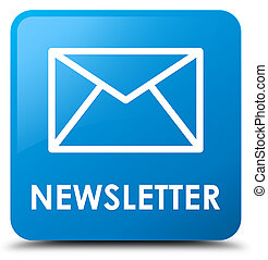 Newsletter cyan blue square button