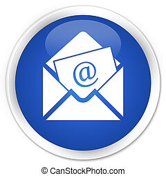 Newsletter email icon blue glossy round button