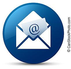 Newsletter email icon blue round button