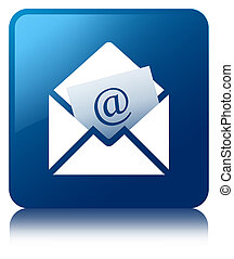 Newsletter email icon blue square button
