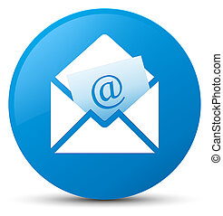 Newsletter email icon cyan blue round button