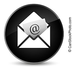 Newsletter email icon elegant black round button
