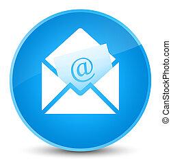 Newsletter email icon elegant cyan blue round button