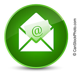 Newsletter email icon elegant green round button