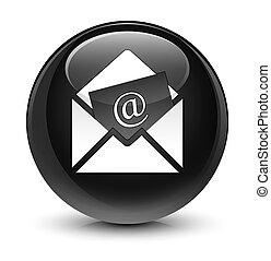 Newsletter email icon glassy black round button