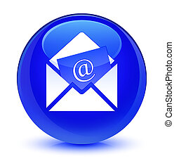 Newsletter email icon glassy blue round button