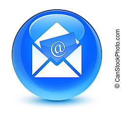 Newsletter email icon glassy cyan blue round button