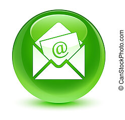 Newsletter email icon glassy green round button