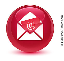 Newsletter email icon glassy pink round button