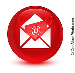 Newsletter email icon glassy red round button