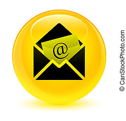 Newsletter email icon glassy yellow round button