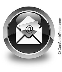 Newsletter email icon glossy black round button