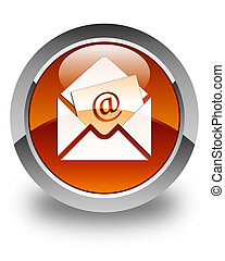 Newsletter email icon glossy brown round button