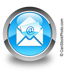 Newsletter email icon glossy cyan blue round button
