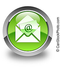 Newsletter email icon glossy green round button