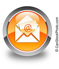 Newsletter email icon glossy orange round button