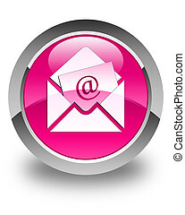 Newsletter email icon glossy pink round button