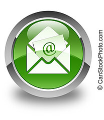 Newsletter email icon glossy soft green round button