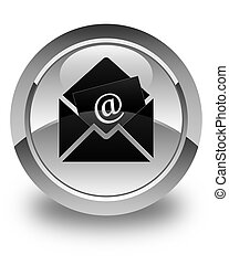 Newsletter email icon glossy white round button