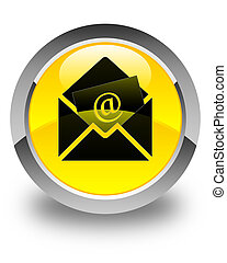 Newsletter email icon glossy yellow round button