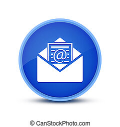 Newsletter email icon isolated on glassy blue round button abstract