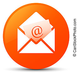 Newsletter email icon orange round button