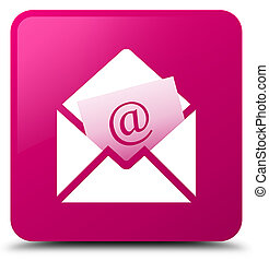 Newsletter email icon pink square button