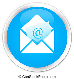Newsletter email icon premium cyan blue round button