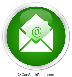 Newsletter email icon premium green round button