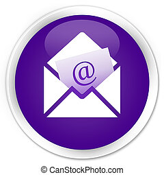 Newsletter email icon premium purple round button