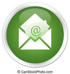 Newsletter email icon premium soft green round button