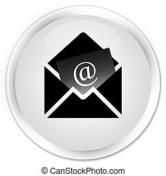 Newsletter email icon premium white round button