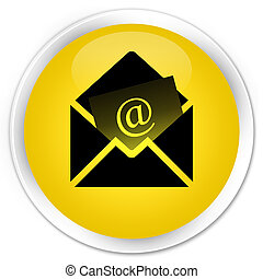 Newsletter email icon premium yellow round button