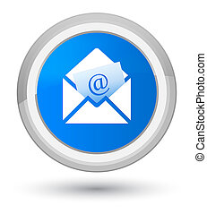 Newsletter email icon prime cyan blue round button