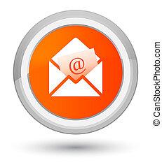 Newsletter email icon prime orange round button