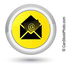 Newsletter email icon prime yellow round button